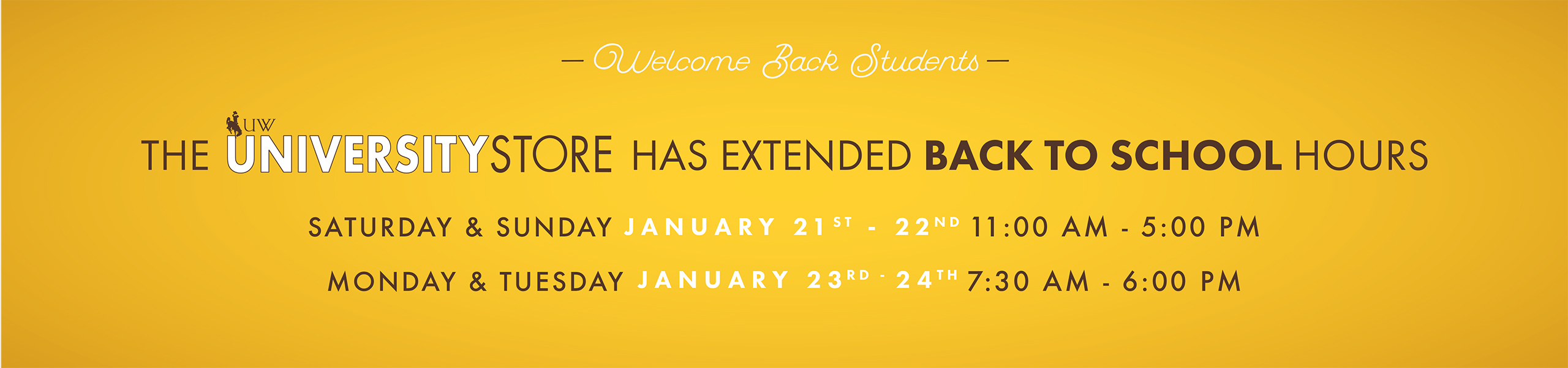 See the University Store's Extended hours!