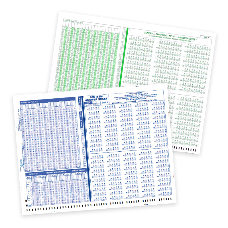 Blue or Green Test Sheets