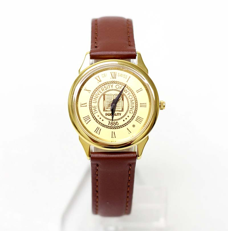 Mens Leather University Of Wyoming Seal Watch