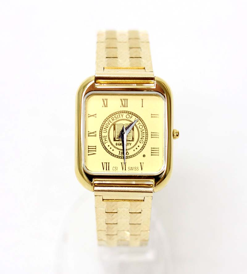 Mens 18 kt Gold Plated Watch University Seal