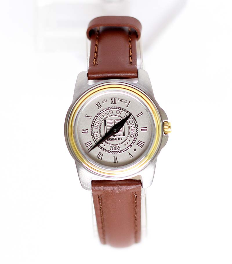 Mens Two-Tone University Seal Leather Watch