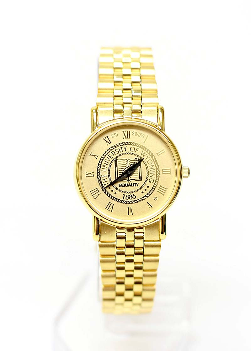 Mens 18 Kt Gold Plated University Seal Watch