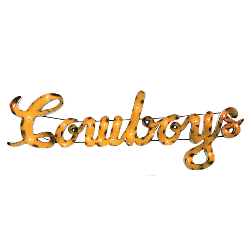 Lighted Metal Cowboys Sign