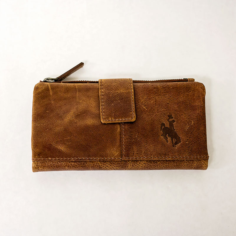 Embossed Leather Snap Clutch Wallet