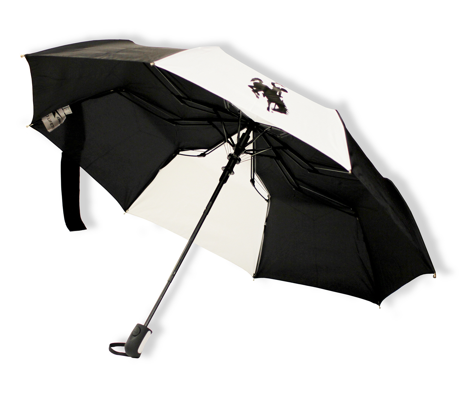 Black/White Bucking Horse Umbrella 42""