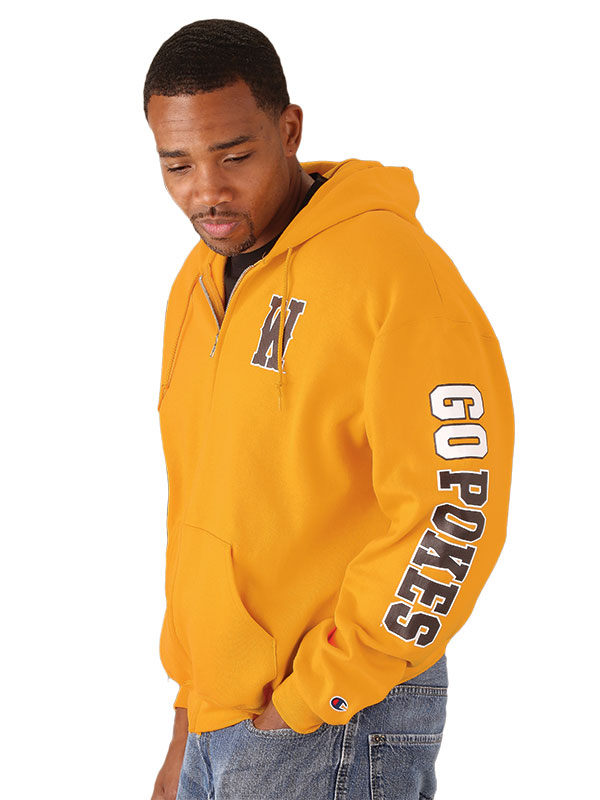 "Champion® Gold Full Zip Hoodie With ""Go Pokes"""