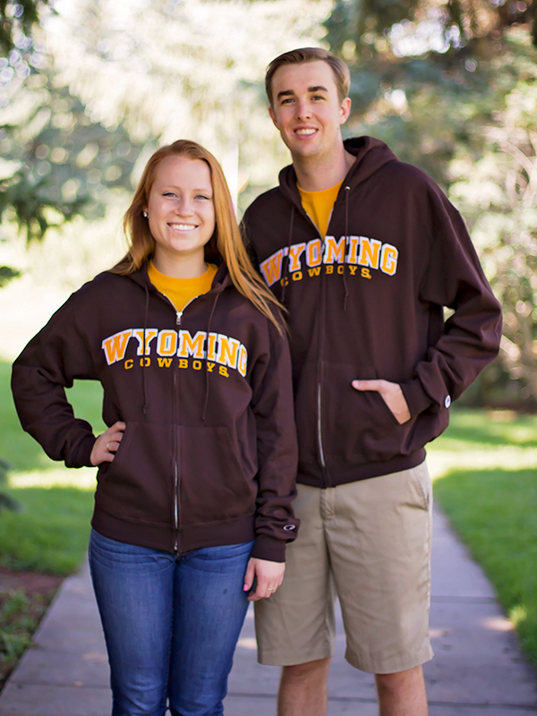 Full Zip Embroidered Wyoming Cowboys Hoodie (SKU 136570931258)
