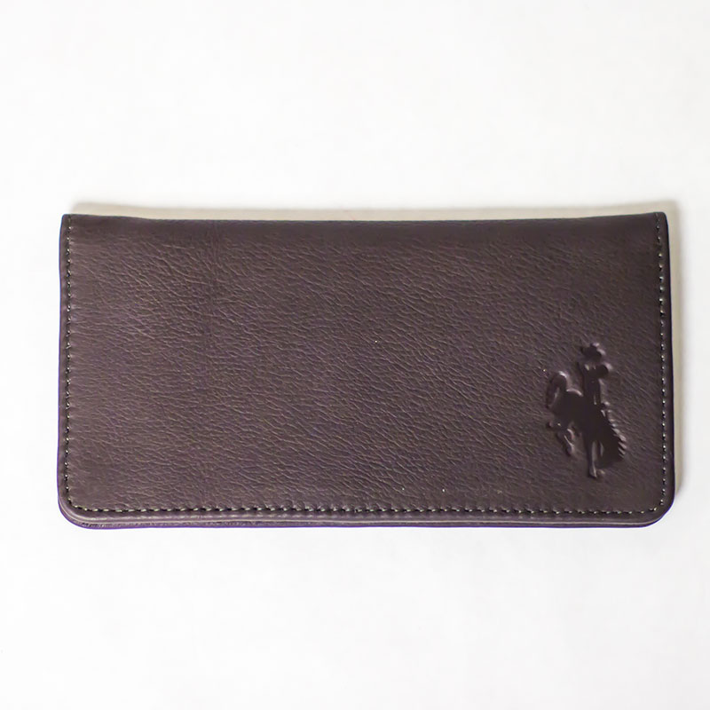 Brown Leather Checkbook Cover With Bucking Horse