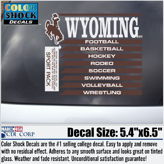 Wyoming Sports Pack Of Decals