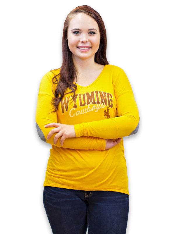 Ladies Wyoming Cowboys Liquid Tee W/ Elbow Patch