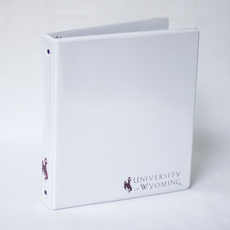 White Clear View Binder With Uw Logo