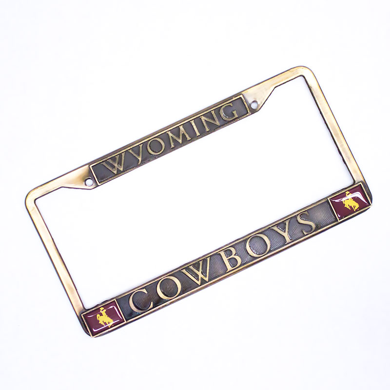 Wyoming Cowboys Antique Brass License Frame