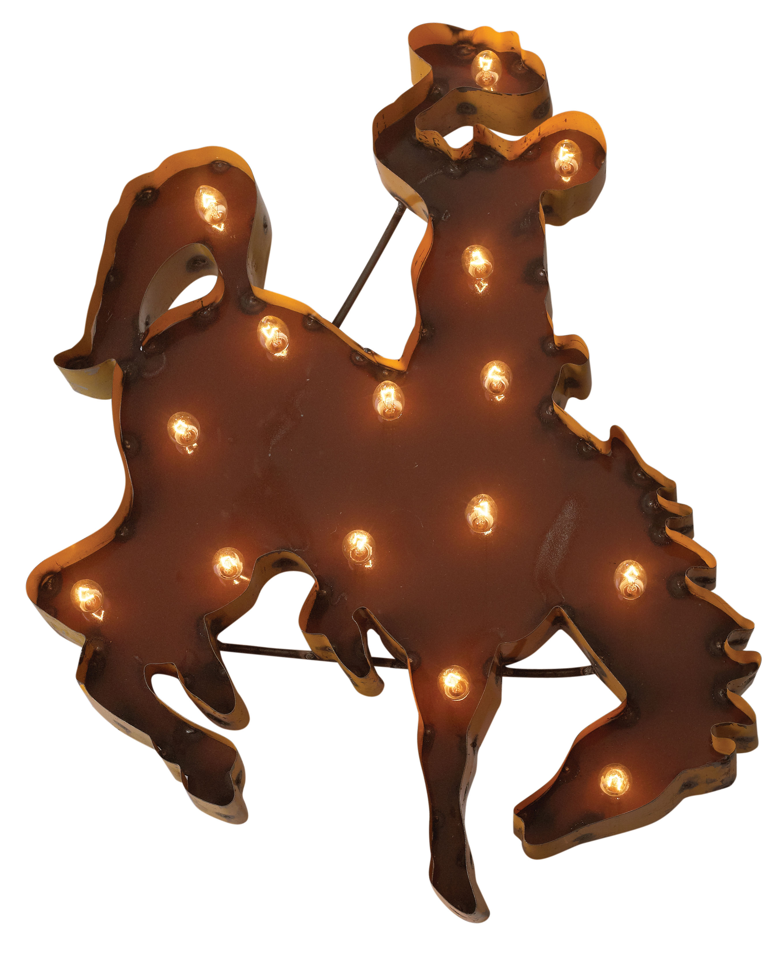 Bucking Horse Metal Lit Sign