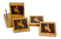7E. Timeless Etchings® Barrel Bucking Horse Coasters Set