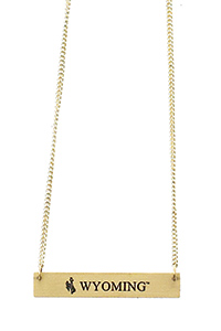Contemporary Metal Wyoming Bar Necklace