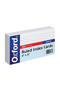 Oxford® 3X5 Ruled Index Cards