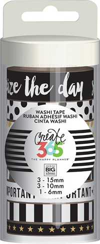Washi Tape Tube Black/White/Gold
