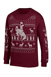 Champion® Long Sleeve Tee Shirt Christmas Deer Design
