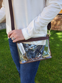 Capri Designs® Brown and Clear Bucking Horse Crossbody Purse