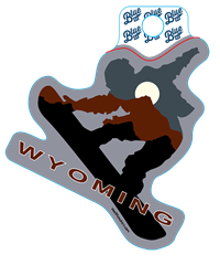 Blue 84® Wyoming Snowboarder Sticker