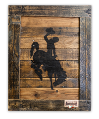 Reclaimed Wood Bucking Horse Sign Framed