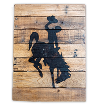 Reclaimed Wood Bucking Horse Sign Unframed