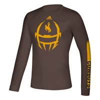Adidas® Locker Room Football Helmet Wyoming Performance Long Sleeve Tee
