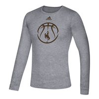 Adidas® Locker Room Wyoming Basketball Long Sleeve Performance Tee