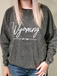 Chicka~D® Wyoming Est. 1886 Ladies Oversized Long Sleeve Tee