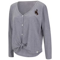 Colosseum® Ladies Button Up Tie Front Bucking Horse Long Sleeve Tee