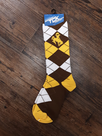 TCK Brown and Gold Argyle Dress Socks