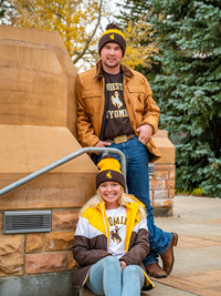 Logofit® Colorblock Brown and Gold Bucking Horse Pom Beanie