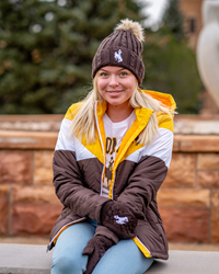 Logofit® Brown Knit Bucking Horse Beanie with Faux Fur Pom