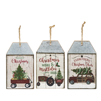 Corrugated Metal and Wood Large Tag Ornaments