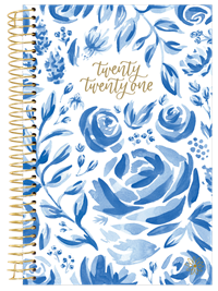 2021 Yearly Planner Blue Floral